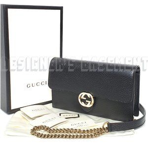 GUCCI crossbody INTERLOCKING G chain wallet Clutch
